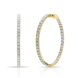 14KT Yellow Gold Diamond Large Bella Hoop Earrings
