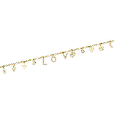 charms charm love diamond gold bracelet, gift for teens