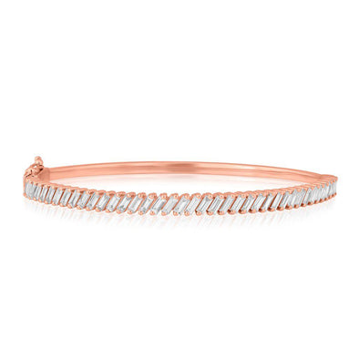 18KT Rose Gold Baguette Diamond Clarissa Bangle Bracelet