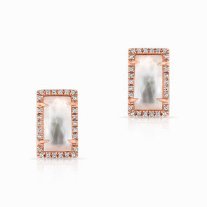 14KT Rose Gold Diamond Mother of Pearl Sara Stud Earrings