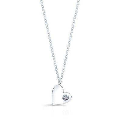 14KT White Gold Diamond In My Heart Necklace