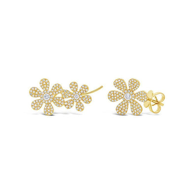 14KT Yellow Gold Diamond Flower Stud and Climber Set Earrings