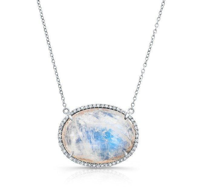 14KT White Gold Diamond Oval Moonstone Necklace