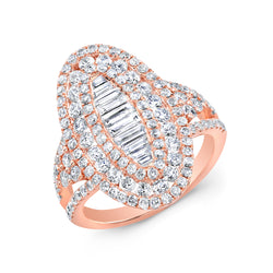 14KT Rose Gold Baguette Diamond Era Ring