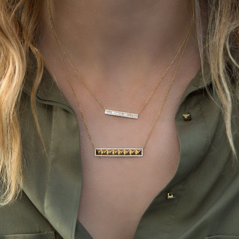 14KT Rose Gold Baguette Diamond Brick Jordyn Necklace-Anne Sisteron
