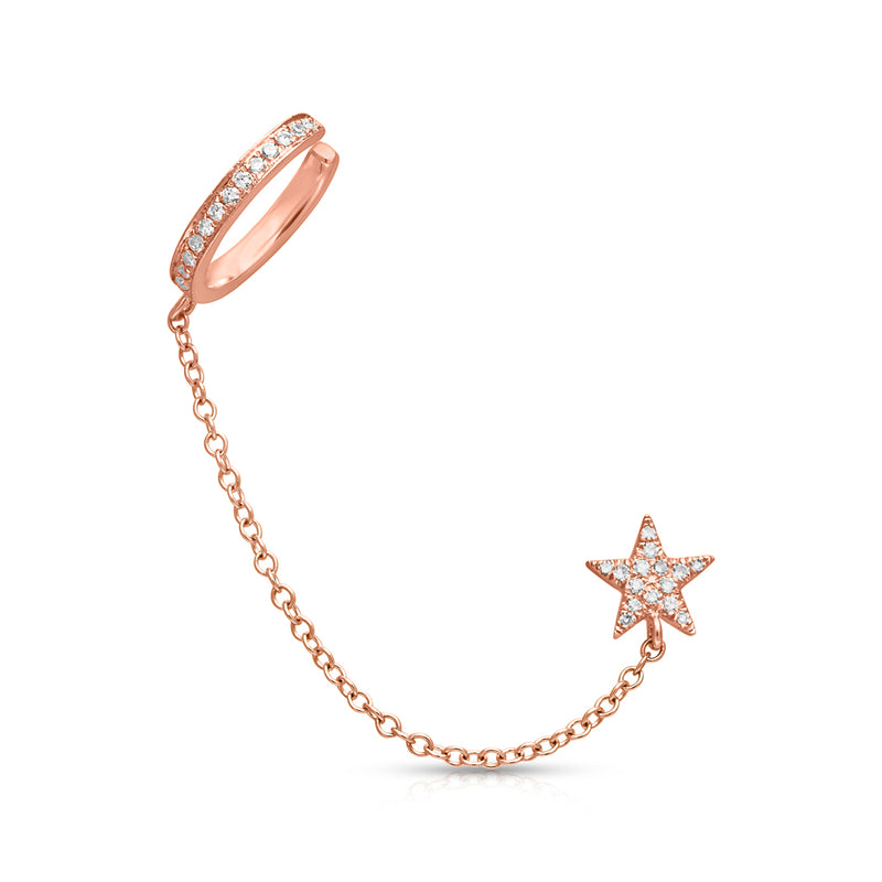 14KT Rose Gold Diamond Star Stud and Chain Ear Cuff