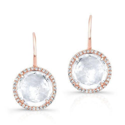 14KT Rose Gold White Topaz Diamond Round Earrings