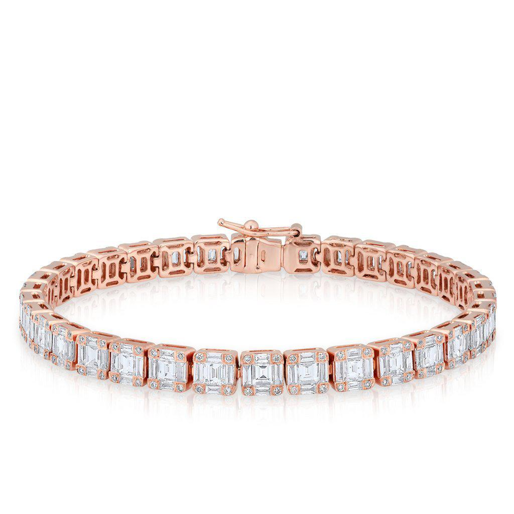 b038c11e4a050 14KT Rose Gold Diamond Baguette Tennis Bracelet