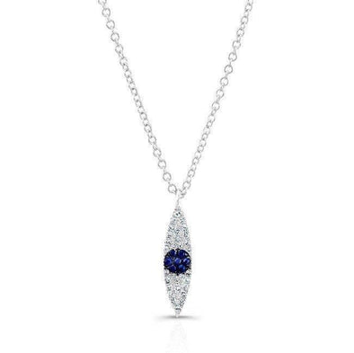 14KT White Gold Diamond And Sapphire Evil Eye Pendant Necklace
