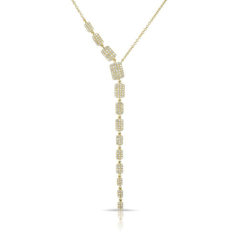 14KT Yellow Gold Diamond Brick Drop Sienna Lariat Necklace