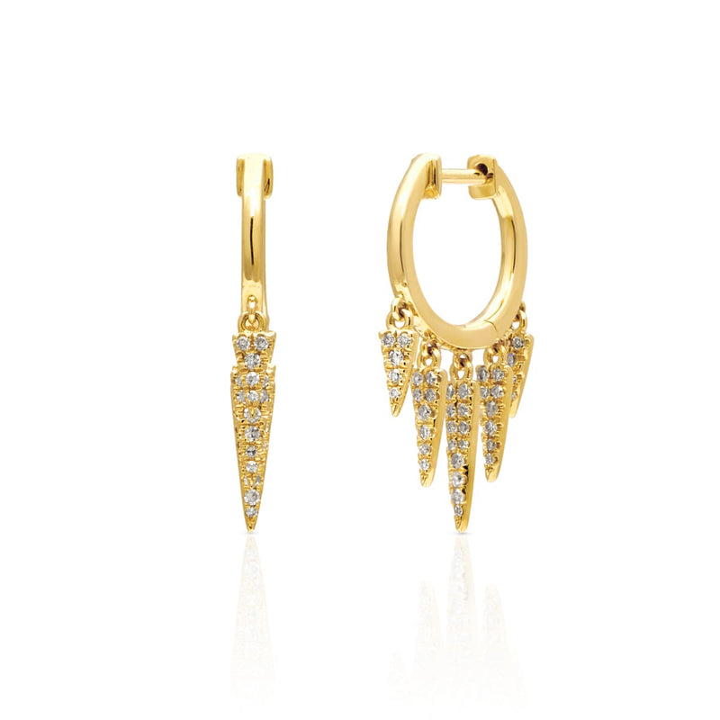 14KT Yellow Gold Diamond Sistine Spike Earrings