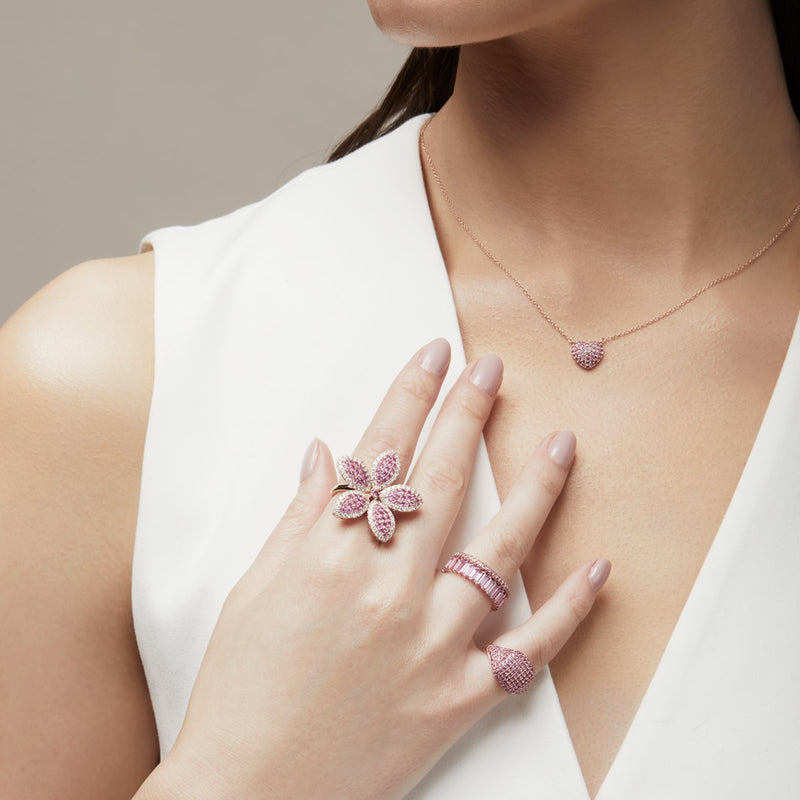 14KT Rose Gold Pink Sapphire Heart Necklace