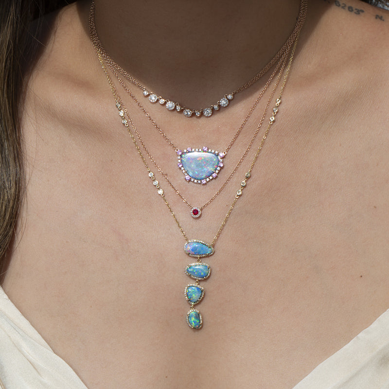 14KT Yellow Gold Opal and Bezel Diamond Lariat Necklace-Anne Sisteron