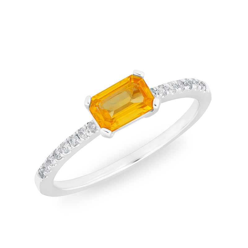 14KT White Gold Orange Sapphire Diamond Madeline Ring