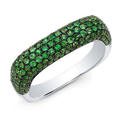 14KT White Gold Tsavorite Square Ring