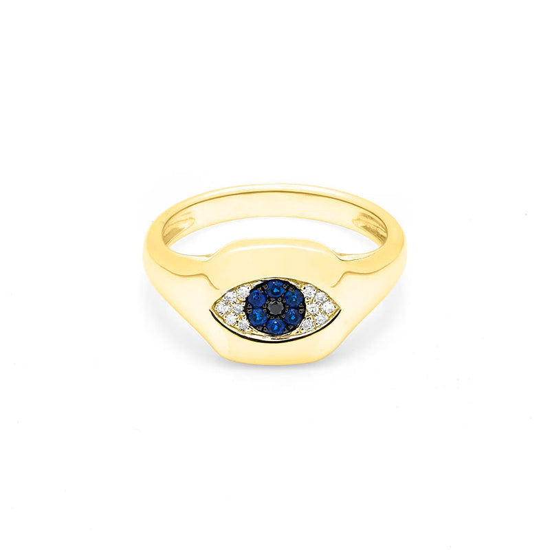 14KT Yellow Gold Diamond Sapphire Evil Eye Pinkie Ring
