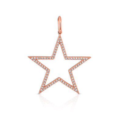 14KT Rose Gold Diamond Large Open Star Charm Pendant
