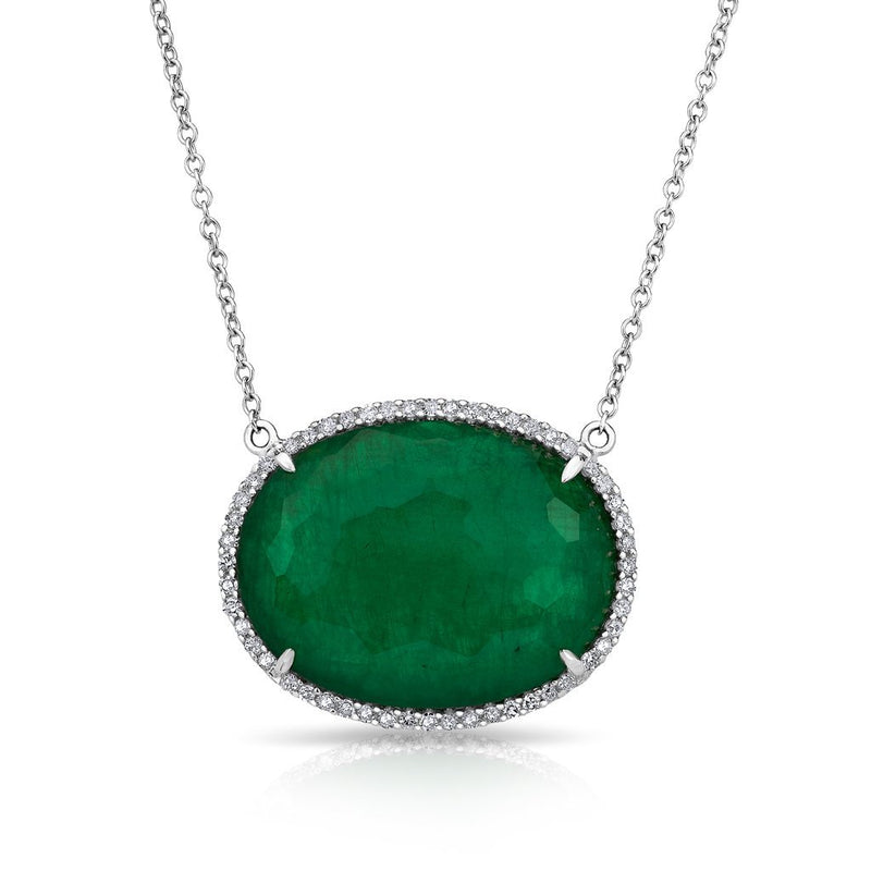 14KT White Gold Emerald Diamond Oval Triplet Sage Necklace