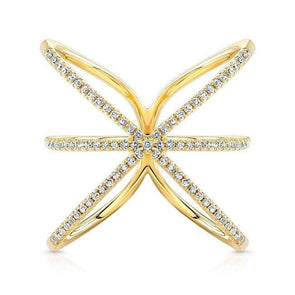 14KT Yellow Gold Diamond Starburst Ring