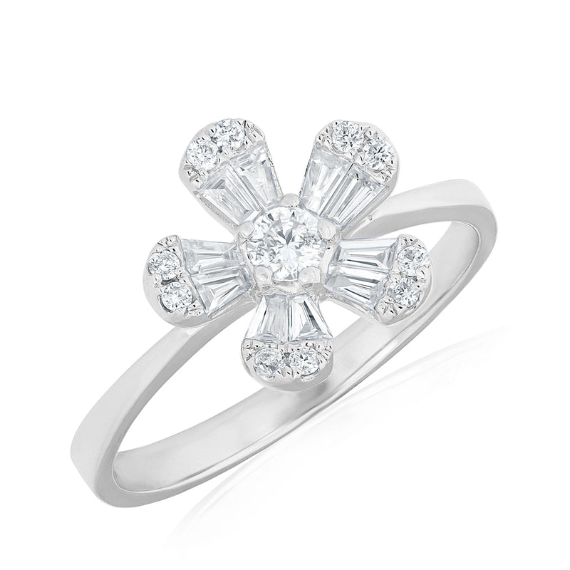 14KT White Gold Baguette Diamond Daisy Ring