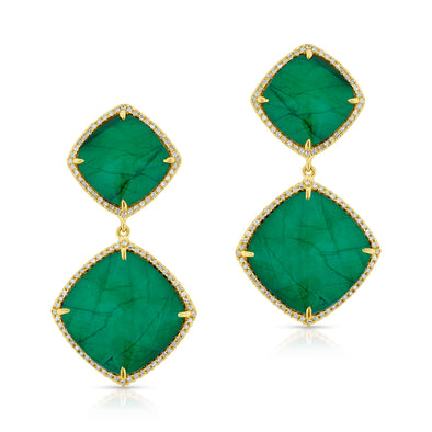 14KT Yellow Gold Diamond Emerald Martine Earrings