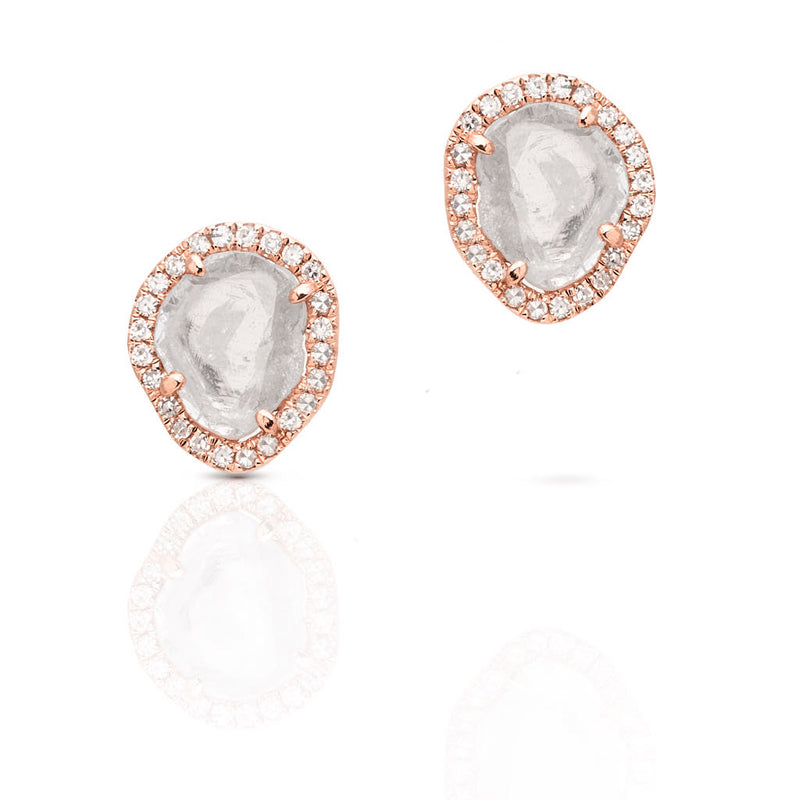 14KT Rose Gold Diamond Slice Stud Earrings