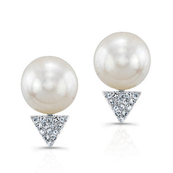 14KT White Gold Pearl Diamond Triangle Stud Earrings