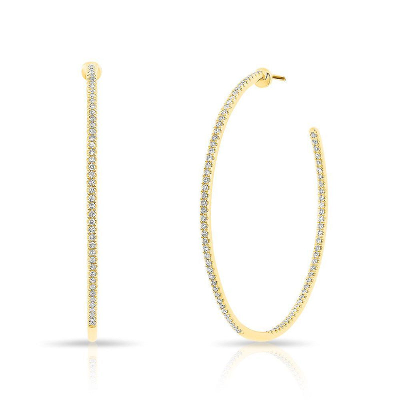 "14KT Yellow Gold Diamond 1.25"" Hoop Earrings"