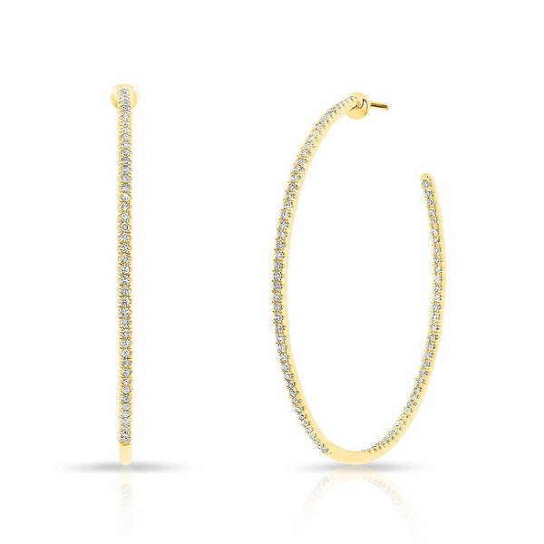 "14KT Yellow Gold Diamond 1.5"" Hoop Earrings"