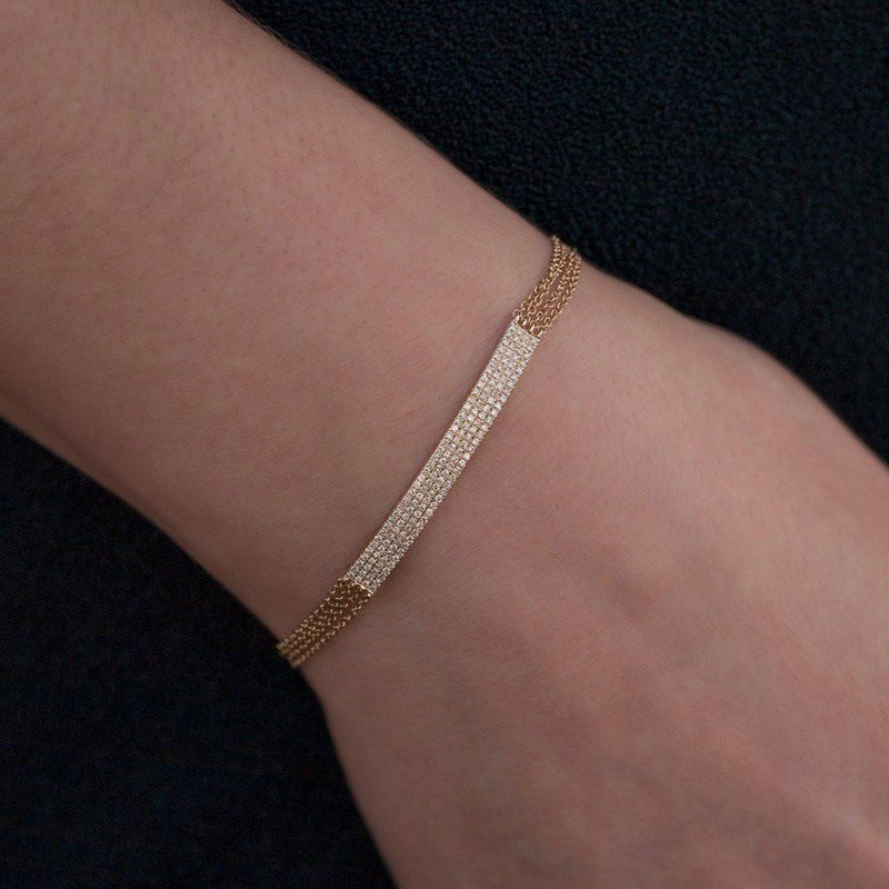 14KT Rose Gold Diamond Quadruple Chain ID Bracelet