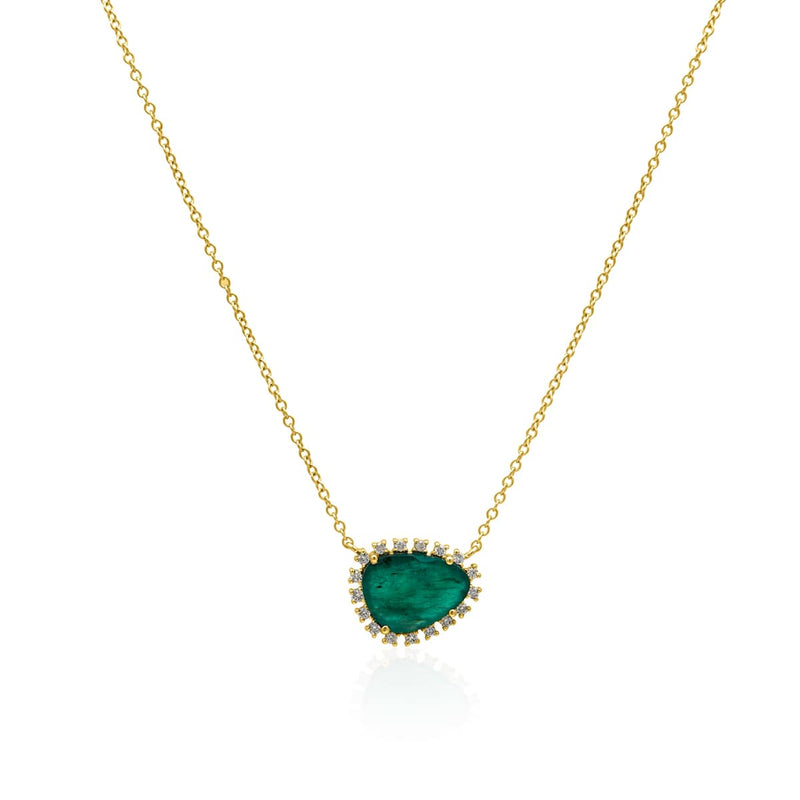 14KT Yellow Gold Emerald Diamond Luxe Jasmine Necklace
