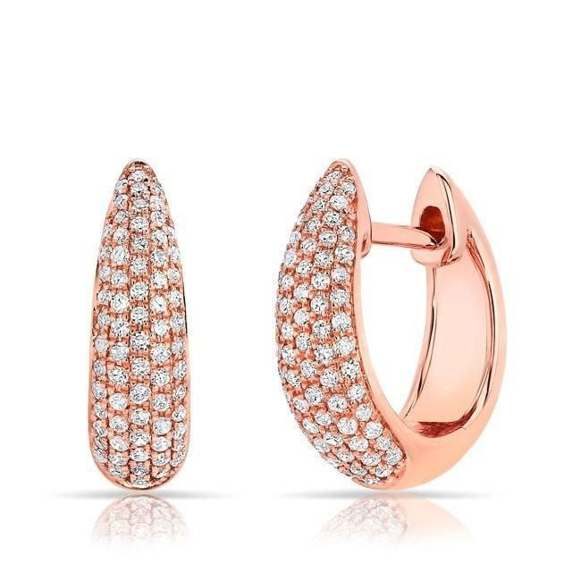 14KT Rose Gold Diamond Gwyneth Huggie Earrings