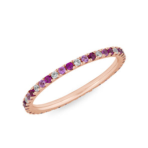 14KT Rose Gold Ruby Pink Sapphire Diamond Eternity Ring