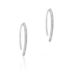 14KT White Gold Diamond Lash Wishbone Earrings
