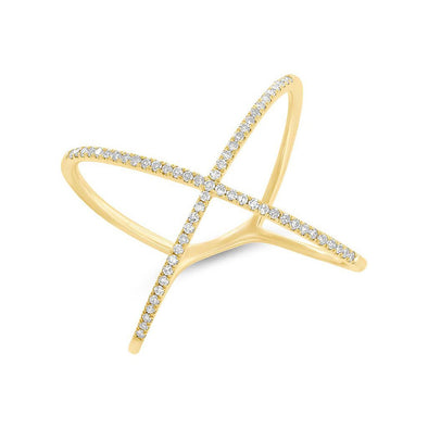 14KT Yellow Gold Diamond X Ring