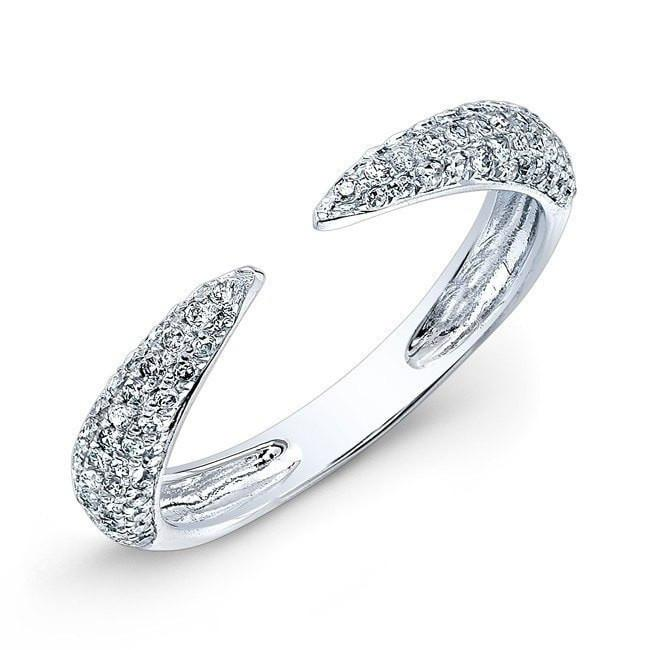 14KT White Gold Diamond Horn Ring