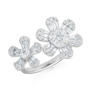 baguette open double daisy diamond ring