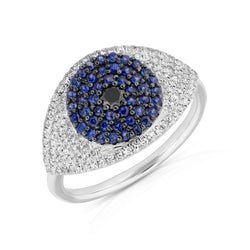 14KT White Gold Diamond And Blue Sapphire Evil Eye Ring