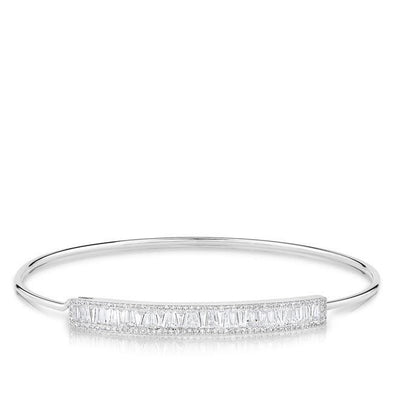 14KT White Gold Diamond Baguette Latch Bracelet