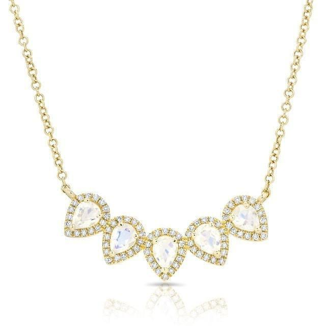 14KT Yellow Gold Moonstone Diamond Crown Necklace