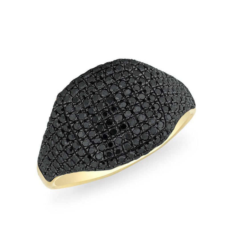 14KT Yellow Gold Black Diamond Cushion Pinkie Ring