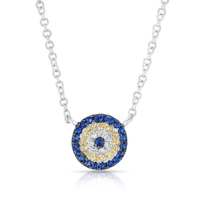 14KT White Gold Diamond And Sapphire Mini Disc Necklace