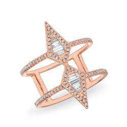 14KT Rose Gold Baguette Diamond Double Spear Ring
