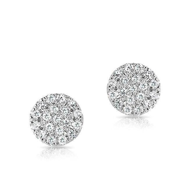 14KT White Gold Mini Diamond Disc Stud Earrings