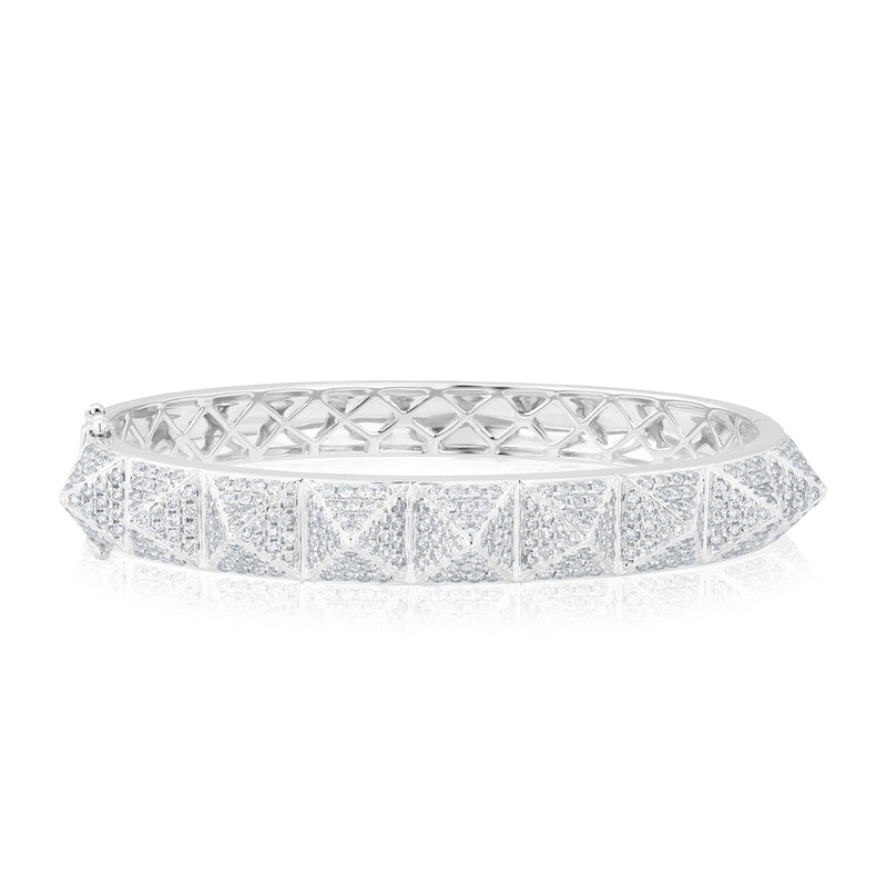 14KT White Gold Diamond Harlow Spike Bangle Bracelet