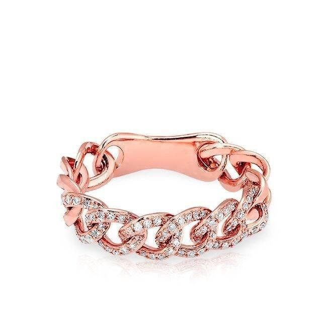 14KT Rose Gold Diamond Chain Link Light Ring