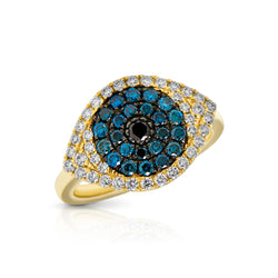 14KT Yellow Gold Diamond and Blue Diamond Evil Eye Ring