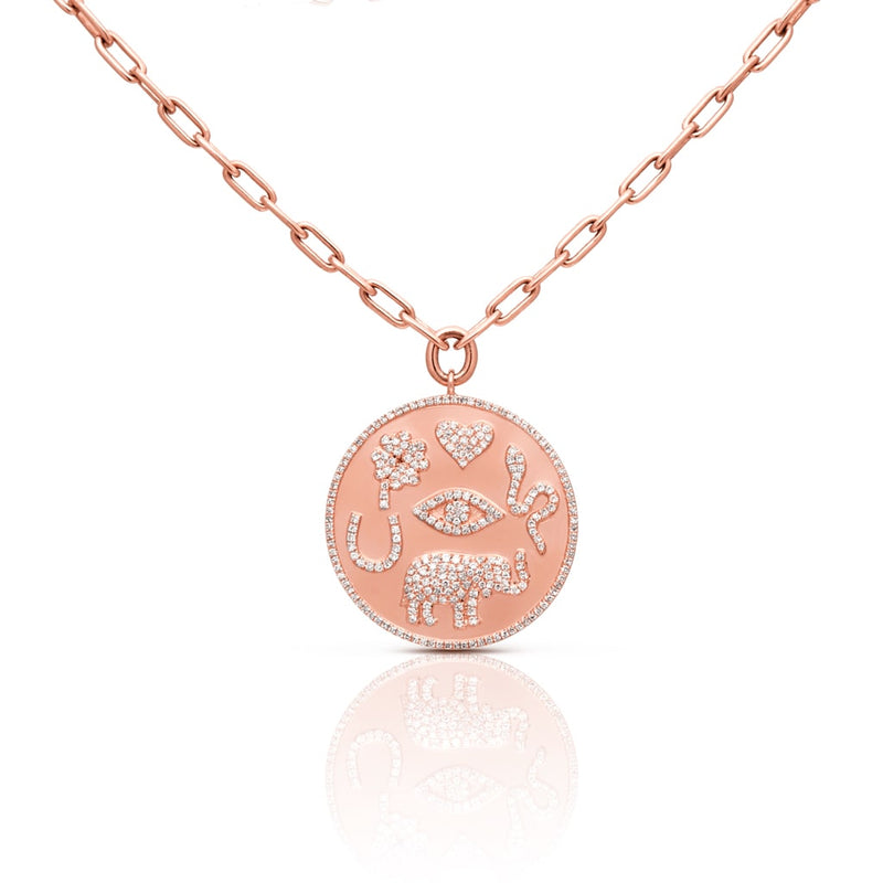 14KT Rose Gold Diamond Talisman Medallion Chain Necklace
