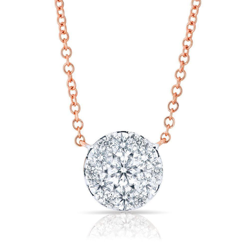 14KT Rose Gold Diamond Round Pendant Laurie Necklace