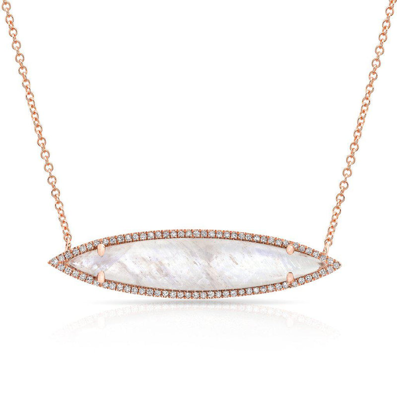 14KT Rose Gold Diamond Moonstone Marquis Necklace